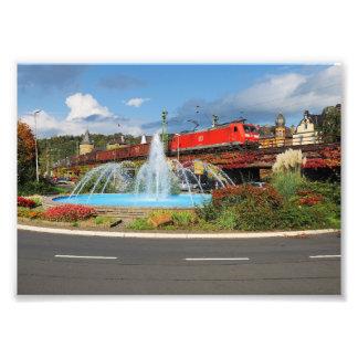 Goods train in Linz on the Rhine Photo Print