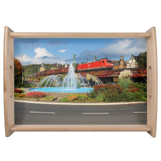 Goods train in Linz on the Rhine Serving Tray