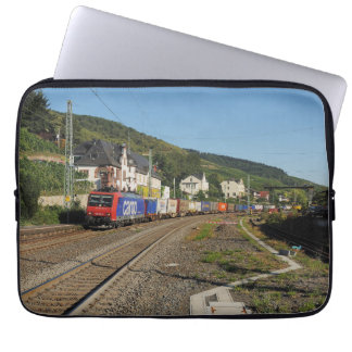 Goods train in Lorch on the Rhine Laptop Sleeve