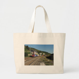 Goods train in Lorch on the Rhine Large Tote Bag