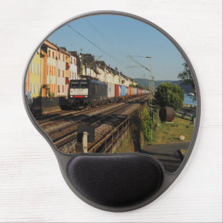 Goods train in Lorchhausen on the Rhine Gel Mouse Pad