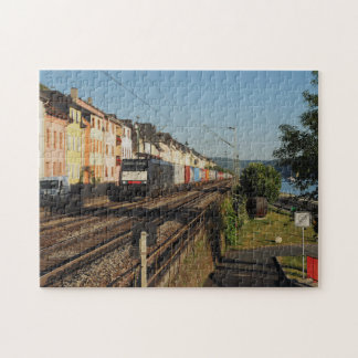 Goods train in Lorchhausen on the Rhine Jigsaw Puzzle