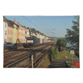 Goods train in Lorchhausen on the Rhine Placemat