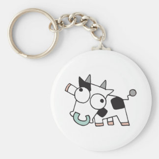 Goofy Baby Cow Basic Round Button Key Ring
