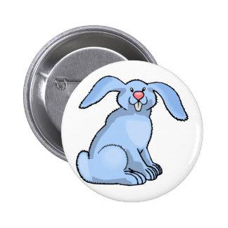 Goofy Blue Bunny Pinback Button