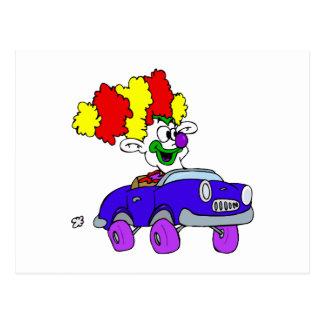 Goofy Clown in little car Postcard