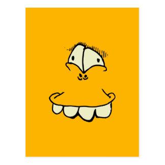 goofy eyes and teeth toon face postcard