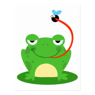 goofy frog catching a fly cartoon postcards