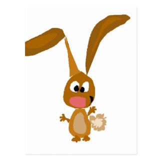 Goofy Funny Bunny Rabbit Art Postcard