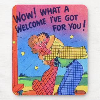 Goofy Gag Romance Postcard Retro Vintage Kitsch Mouse Pad