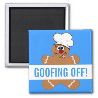 Goofy Gingerbread Man Cookie Square Magnet