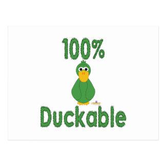 Goofy Green Duck 100 Percent Duckable Post Card