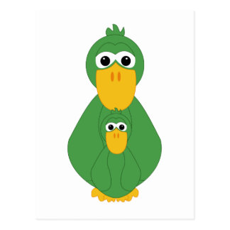 Goofy Green Duck And Baby Post Card