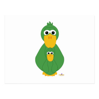 Goofy Green Duck And Baby Postcards