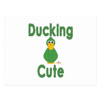 Goofy Green Duck Ducking Cute Postcards