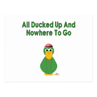 Goofy Green Duck Girl All Ducked Up And Nowhere To Post Card