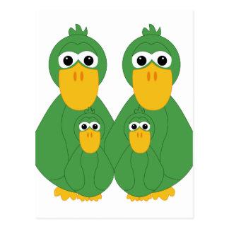 Goofy Green Ducks And 2 Babies Post Card