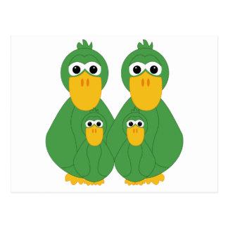 Goofy Green Ducks And 2 Babies Postcards