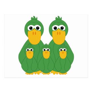 Goofy Green Ducks And 3 Babies Postcard