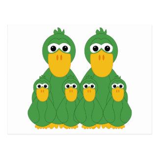 Goofy Green Ducks And 4 Babies Post Card
