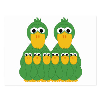 Goofy Green Ducks And 6 Babies Post Cards