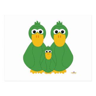 Goofy Green Ducks And Baby Post Card