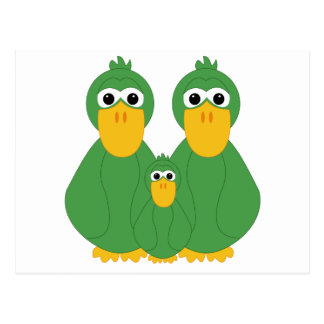 Goofy Green Ducks And Baby Postcards