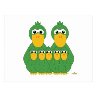 Goofy Green Ducks And Five Babies Postcard