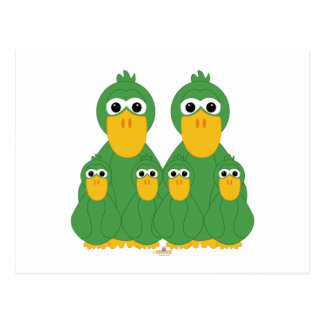 Goofy Green Ducks And Four Babies Post Card