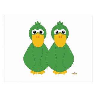 Goofy Green Ducks Postcard