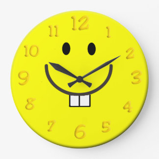 Goofy Grin Smiley Face Round Wallclock