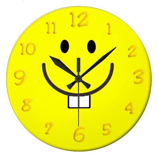 Goofy Grin Smiley Face Round Wallclock