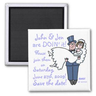 Goofy Groom Carrying Bride Cartoon Save Date Magnet