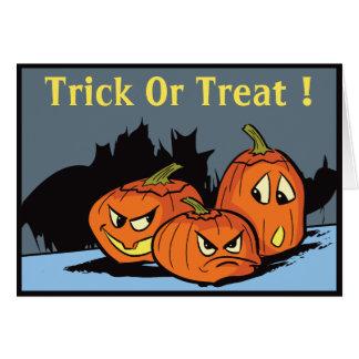 Goofy Jack-O-Lantern Trio Halloween Card
