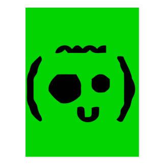 goofy kid face text emote postcard