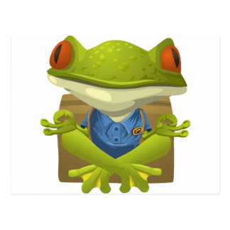 Goofy Little Meditating Green Tree Frog Postcard