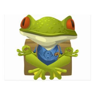 Goofy Little Meditating Green Tree Frog Postcard
