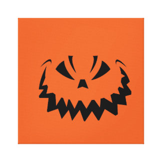 Goofy Orange Halloween Jack O'Lantern Canvas Print