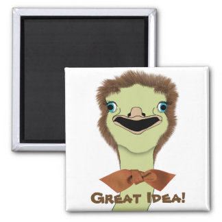 Goofy Ostrich with a Great Idea Square Magnet