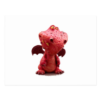 Goofy winged Red Dragon with crazy Smile Post Cards