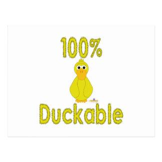 Goofy Yellow Duck 100 Percent Duckable Postcards