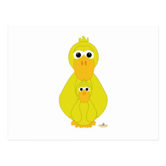 Goofy Yellow Duck And Baby Postcards