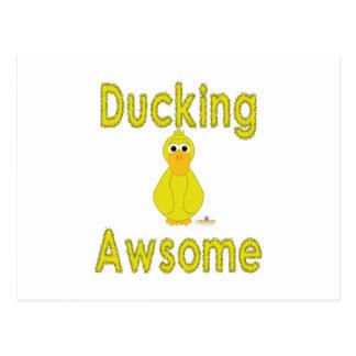 Goofy Yellow Duck Ducking Awsome Post Cards