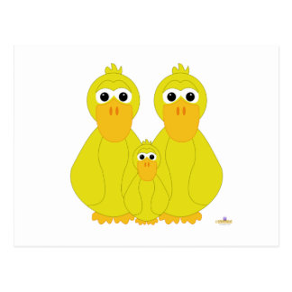 Goofy Yellow Ducks And Baby Postcards