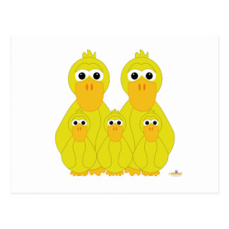 Goofy Yellow Ducks And Three Babies Post Card