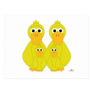 Goofy Yellow Ducks And Two Babies Postcard