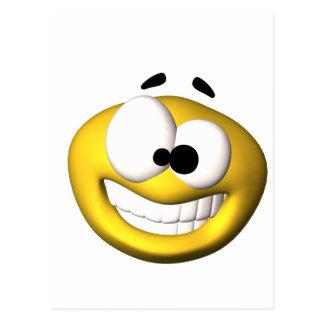 Goofy yellow smiley postcards