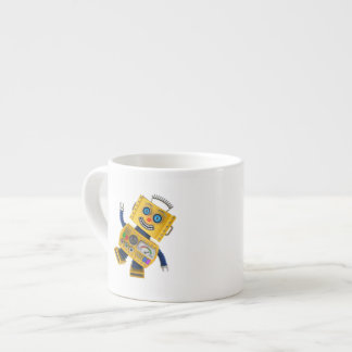 Goofy yellow toy robot espresso cup