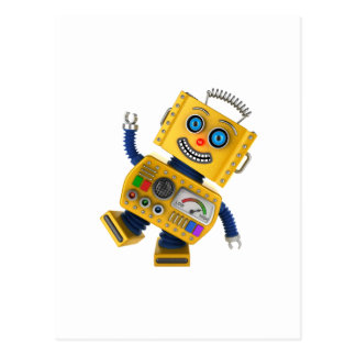 Goofy yellow toy robot postcard