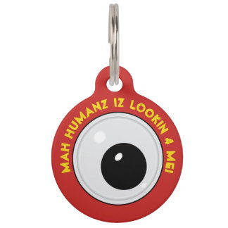 Googly eye pet ID tag
